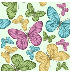Beautiful seamless background with butterflies vector