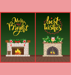 Best wishes fireplace decorated for winter holiday vector