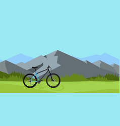 bicycle riding in wild mountain vector image