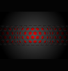 black abstract papercut grid pattern on red vector image