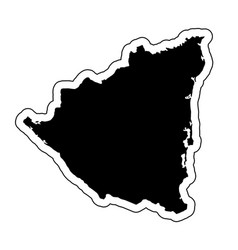 black silhouette of the country nicaragua with vector image