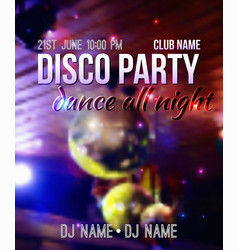 blurred background with disco ball and lights vector image