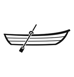 Boat with paddle icon simple style vector