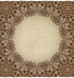 Brown frame floral ornament old background vector