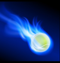 burning tennis ball on blue fire vector image
