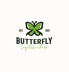 Butterfly vintage rustic hipster logo template vector