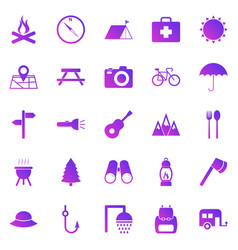 camping gradient icons on white background vector image
