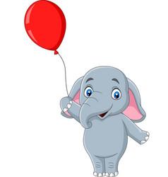 Cartoon elephant holding a red balloon vector
