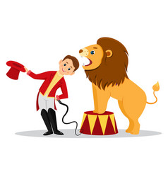 cartoon lion tamer puts his head in the jaws of vector image