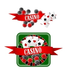 Casino icons with dice chips cards and roulette vector image