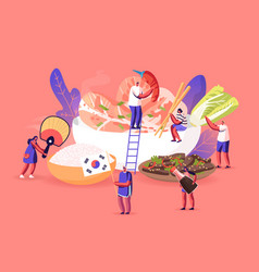 characters eating and cooking traditional korean vector image
