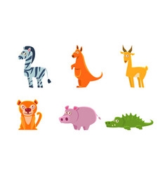collection cute exotic animals zebra kangaroo vector image