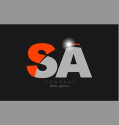Combination letter sa s a in grey orange color vector