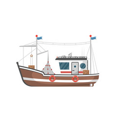 Commercial fishing trawler side view icon vector
