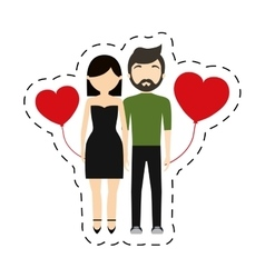 Couple fashionable modern red hearts balloon vector