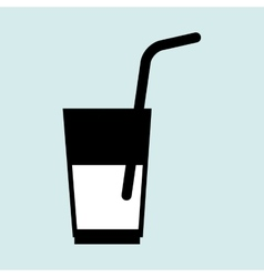 cup glass straw cold vector image