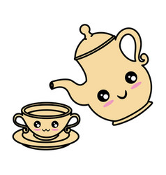 cute teapot kitchenware kawaii cute cartoon vector image