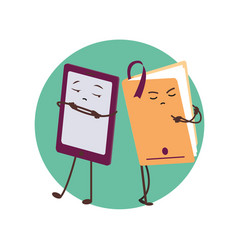 E-book and paper book funny characters vector