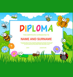 education diploma for kindergarten with insects vector image