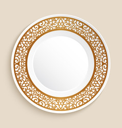 Empty plate with gold border vector