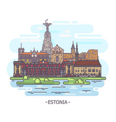 estonia architecture landmarks estonian monuments vector image