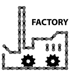 Factory industry chain sprocket silhouette vector