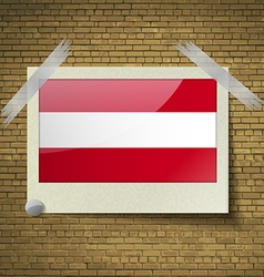 Flags Austria at frame on a brick background vector image