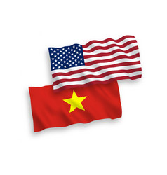 Flags vietnam and america on a white background vector