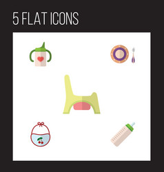 flat icon kid set of feeder baby plate toilet vector image