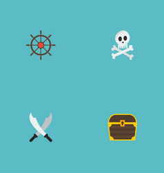 Flat icons cranium chest ship steering wheel and vector