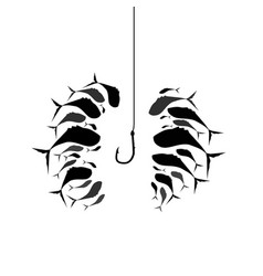 flock of fish near the hook silhouette of schools vector image