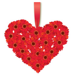 flower bouquet floral heart frame flourish summer vector image