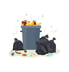 full metal trash can overflowing with food waste vector image