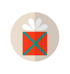 gift box with bow surprise flat colored icon vector image