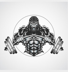 Gorilla gym symbol logo fitness vector