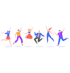 happy jumping young people excited student vector image