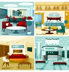 Hotel Interior 2x2 Design Concept vector
