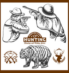 hunters and bear - isolated vector image