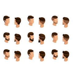 Isometric set mens hairstyles hipster style vector