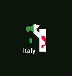 italy initial letter country with map and flag vector image