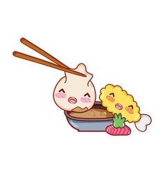 Kawaii dumpling in sticks sauce tempura wasabi vector