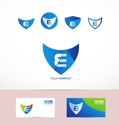 Letter E shield antivirus logo vector image