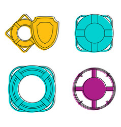 lifebuoy icon set color outline style vector image