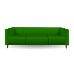 long green sofa mockup realistic style vector image