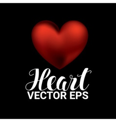 Love romantic 3D Realistic Red Hearts on black vector