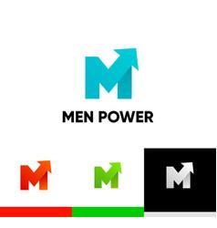 Men power logo with arrow symbol - libido strength vector