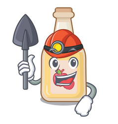 Miner apple cider in character shape vector