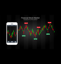 Mobile stock trading concept with candlestick and vector