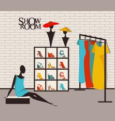 Modern loft interior showroom fashion vector