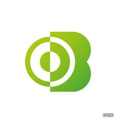 Modern professional logo monograma b in green vector